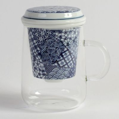 Japanese Porcelain Infuser with Glass Cup (COLLAGE)
